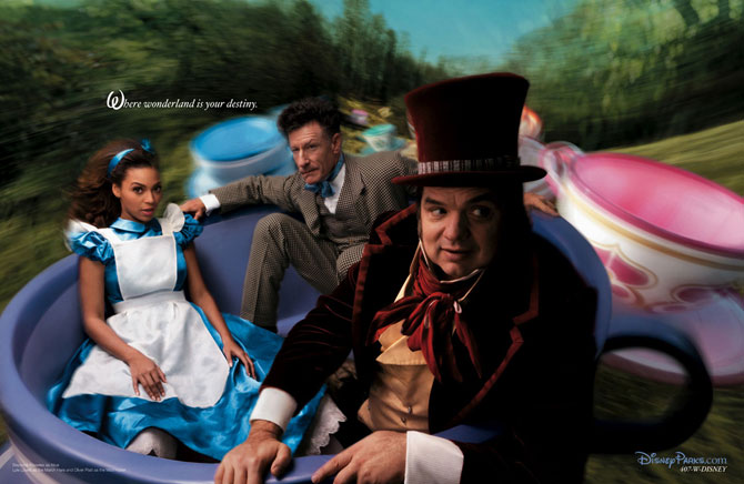 Beyoncé as Alice, Oliver Platt as the Mad Hatter and Lyle Lovett as the March Hare